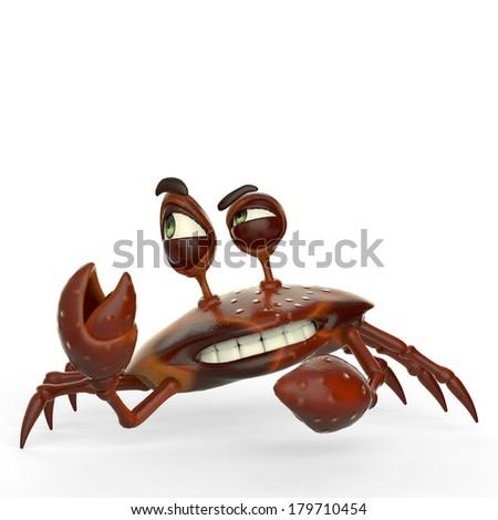 crab cartoon attack - stock photo