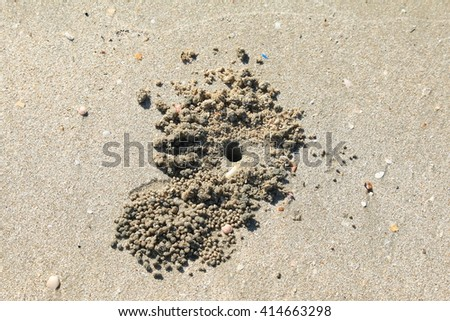 Crab design/Specific design made by little crabs on a beach in Bali, Indonesia when removing the excavated sand through tiny sand balls from the holes they dig to lay off eggs,Crab hole. - stock photo