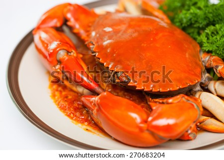 Crab dish with vegetables - stock photo