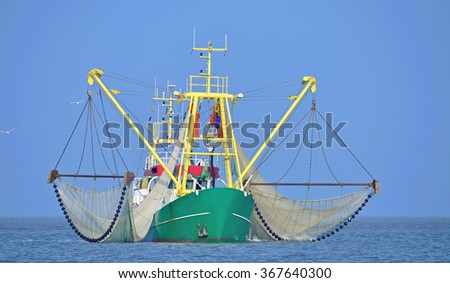 Crab Fishing Trawler at North Sea near Norderney Island,Lower Saxony,Germany - stock photo