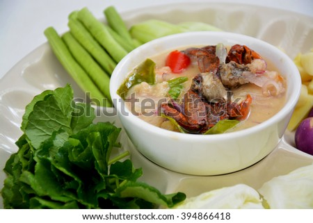 Crab in coconut soup or Crab stew close up - stock photo