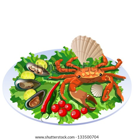 Crab in the dish with salad, tomatoes and molluscs with lemon slices (see eps version in my portfolio) - stock photo