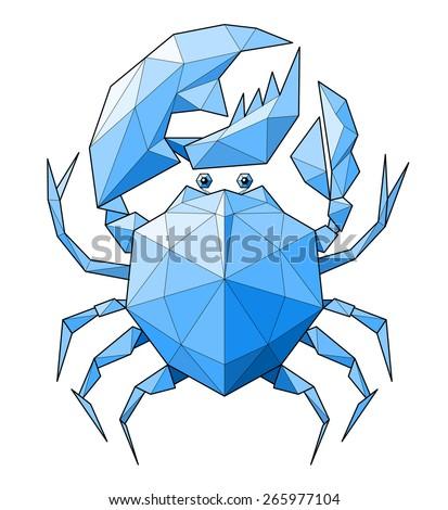 Crab. Low polygon linear illustration - stock photo