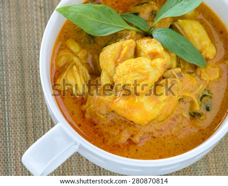 Crab meat coconut milk curry, Thai spicy soup cuisine - stock photo