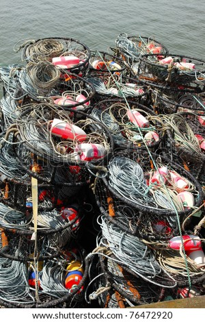 Crab nets stacked, port of Astoria OR. - stock photo