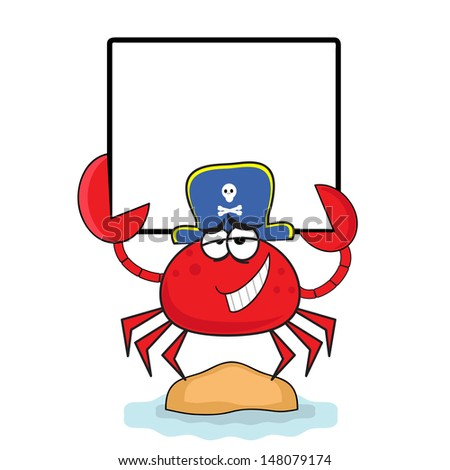 Crab - pirate with banner. - stock photo