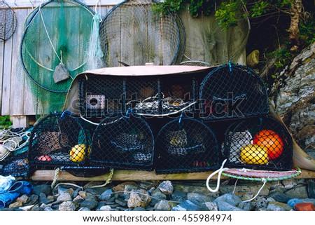 Crab pots, until next time - stock photo
