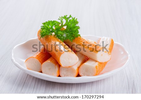 of fried crab claws crabstick surimi crab sticks with lettuce