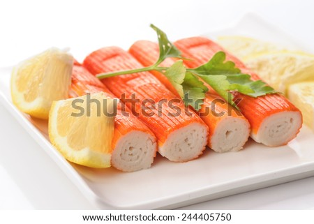 crab sticks with parsley and lemon