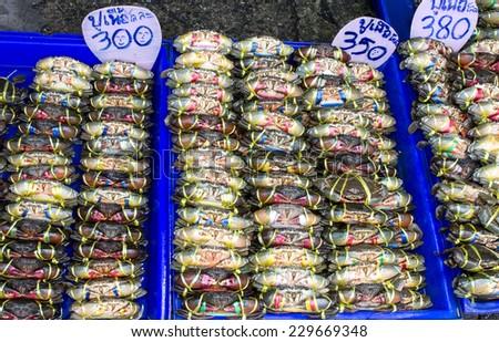 crab were bind in local thailand market sale - stock photo