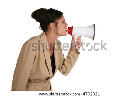Crabby Business Woman Screaming into a Megaphone on White