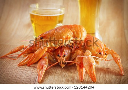 crabs and beer - stock photo