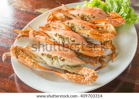 crabs steamed on dish - stock photo