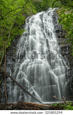 Crabtree Falls is located on the Blue Ridge Parkway in the Crabtree Meadows. There is a nice hike to the falls and you see this beautiful scene.