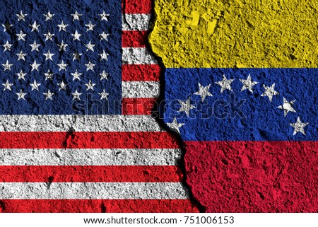 Crack between America and Venezuela flags. political relationship concept
