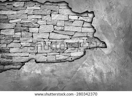 crack brick wall - stock photo
