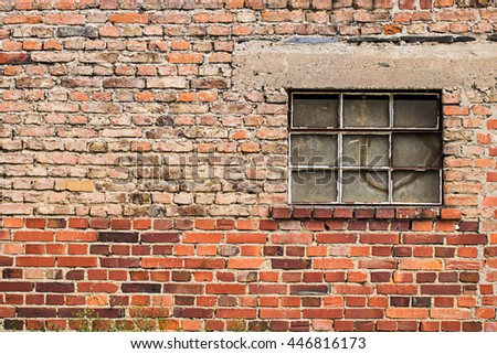 Crack Brick Wall Texture Background On Day Noon Light With Broken Window  For Interior Or Exterior