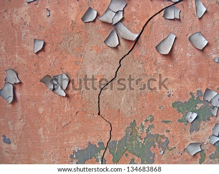 Crack in stucco - stock photo