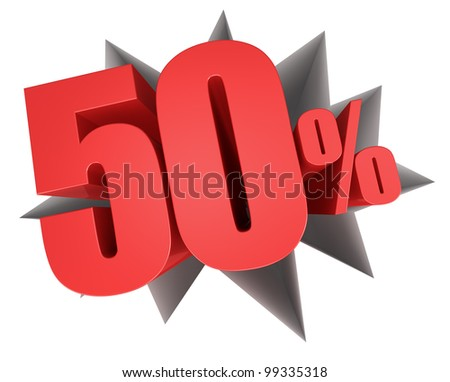 crack in the floor with the number fifty and the percent symbol that come out (3d render) - stock photo