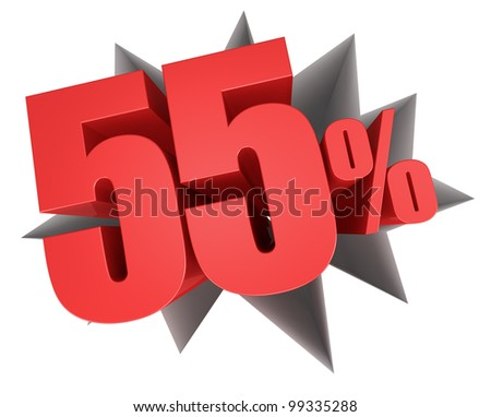 crack in the floor with the number fifty five and the percent symbol that come out (3d render) - stock photo