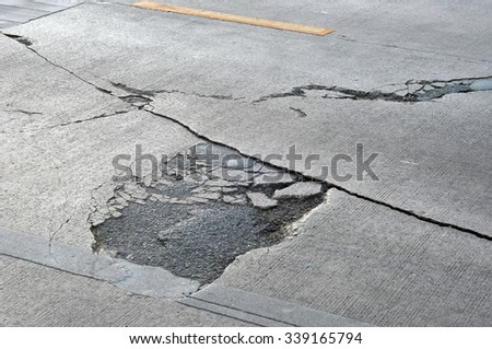 crack on surface of street - stock photo
