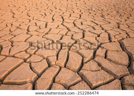 Crack soil on dry season - stock photo