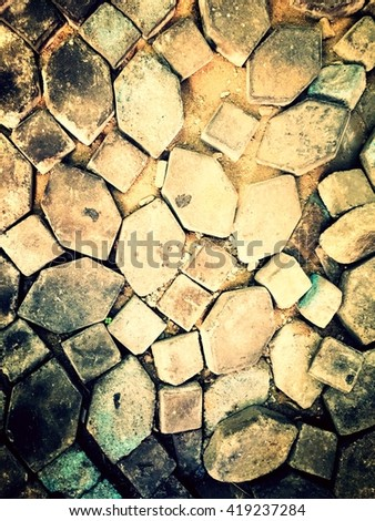Cracked and old cement footpath for texture and background. Abstract background. - stock photo