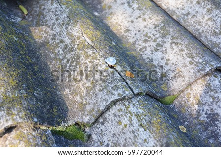 Cracked Asbestos Sheets Old Roof. Asbestos Shingles Repair And Removal. House  Asbestos Roof Removal
