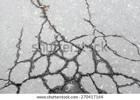 Cracked asphalt close up - stock photo