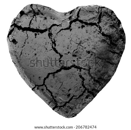 cracked black heart on white background - stock photo
