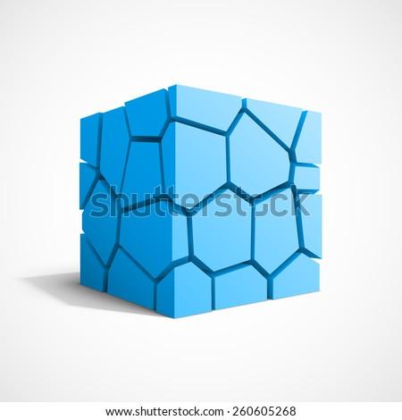 Cracked blue cube. - stock photo
