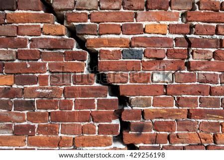 cracked brick wall, Brick Wall Background  - stock photo