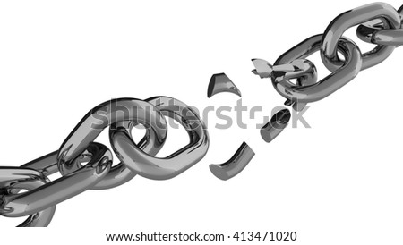 Cracked chain against white background 3d render