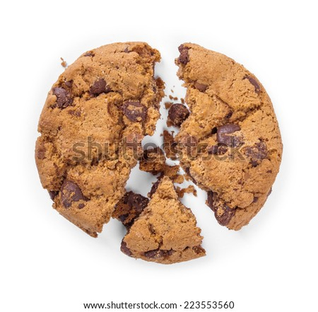 Cracked chocolate chip cookie isolated on white background - stock photo