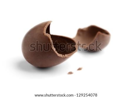 Cracked chocolate egg, isolated on white - stock photo