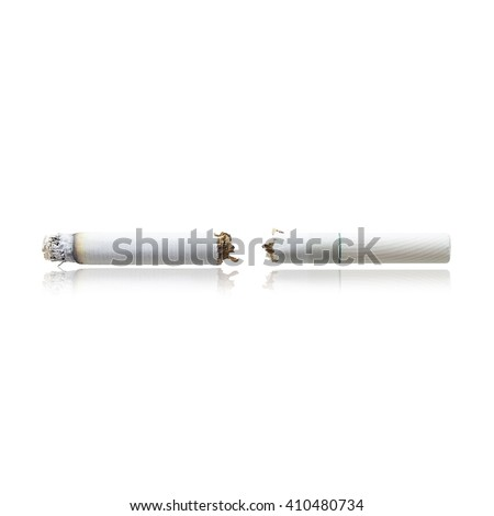 Cracked cigarette isolated on white background with clipping path, Concept No smoking. - stock photo
