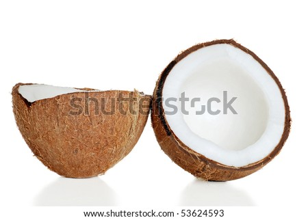 cracked coconut - stock photo