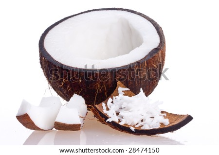 Cracked coconut/ on white isolated - stock photo