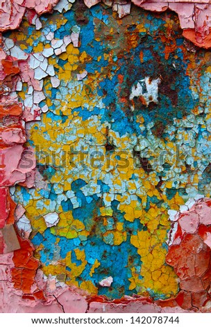 cracked colored multilayer paint texture - stock photo