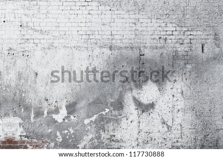 Cracked concrete old brick wall background - stock photo