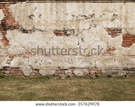 cracked concrete vintage brick wall with grass floor - stock photo