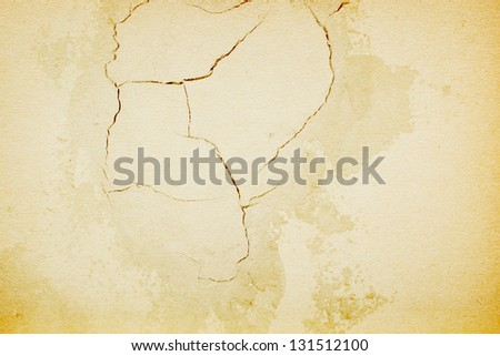 Cracked Concrete Wall  Mix With Paper Texture For Background - stock photo