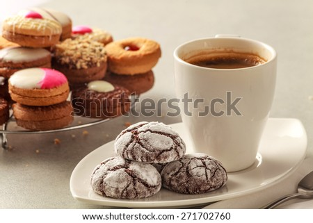 Cracked cookies:A beautiful morning should start with these delicious cracked cookies and a perfect coffee Location:at Rawan Cake in Amman Jordan - stock photo
