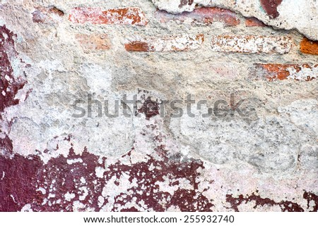 Cracked decay paint concrete wall texture background,grunge wall - stock photo