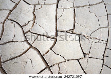 Cracked dry clay in the desert