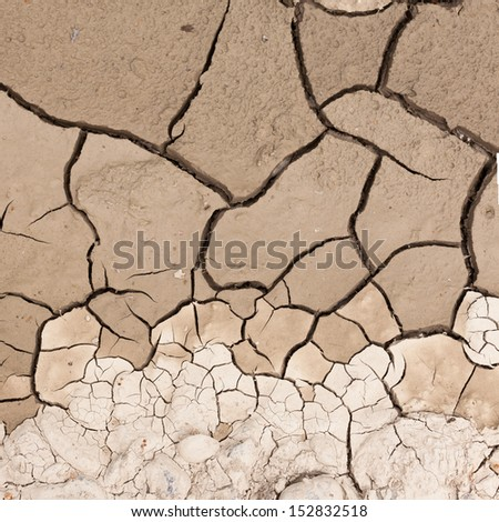 Cracked dry earth or mud environmental background texture pattern conceptual of drought and natural disaster - stock photo