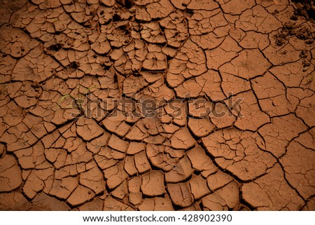 Cracked dry land without water in Kenia - stock photo