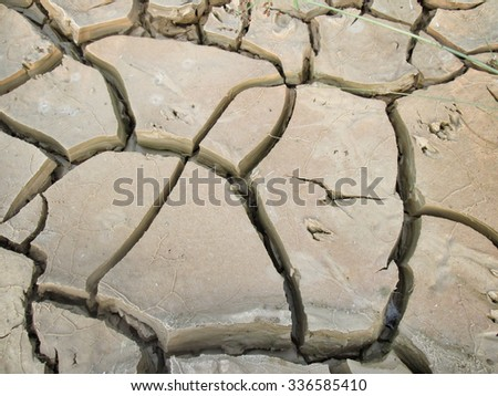 Cracked dry soil - stock photo