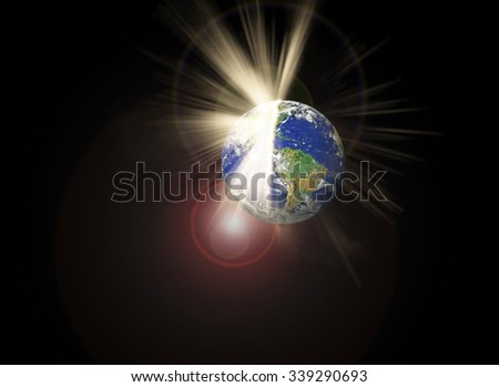 Cracked earth and light beam, disastrous Concept - Some elements of this image furnished by NASA