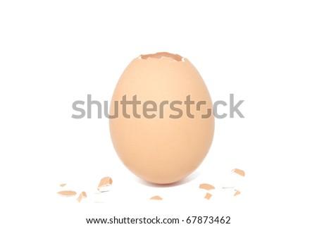 cracked egg - stock photo